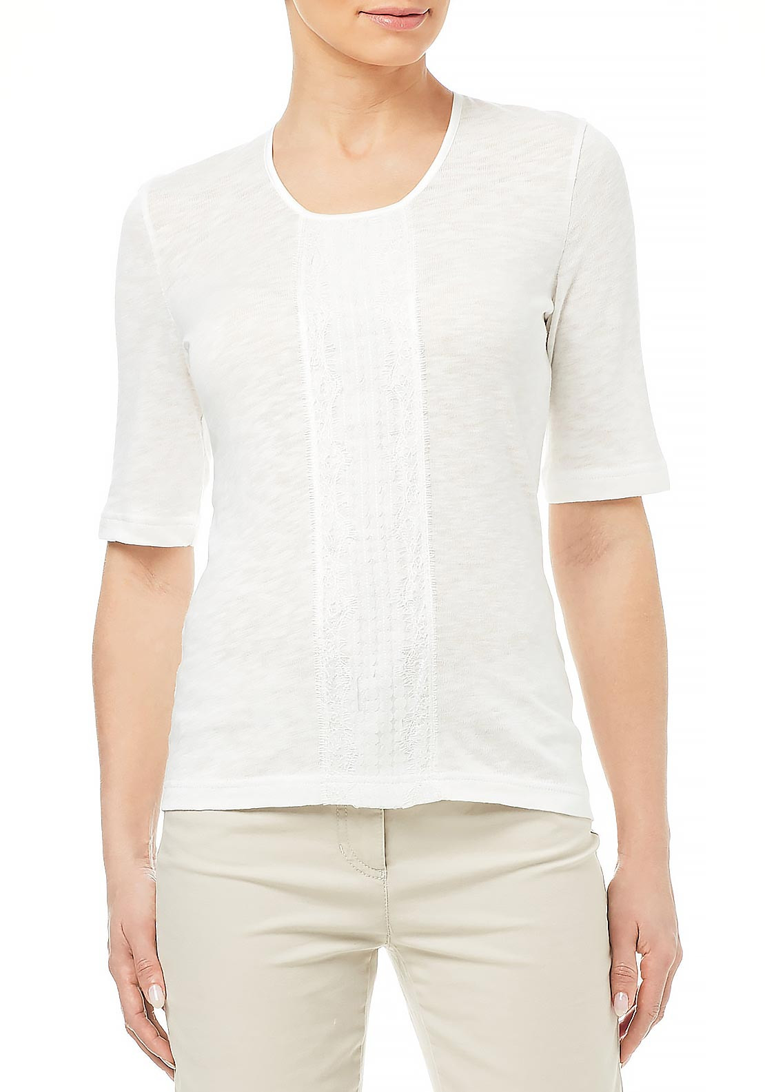 Gerry Weber Embroidered Trim Short Sleeve Sweater Jumper, White