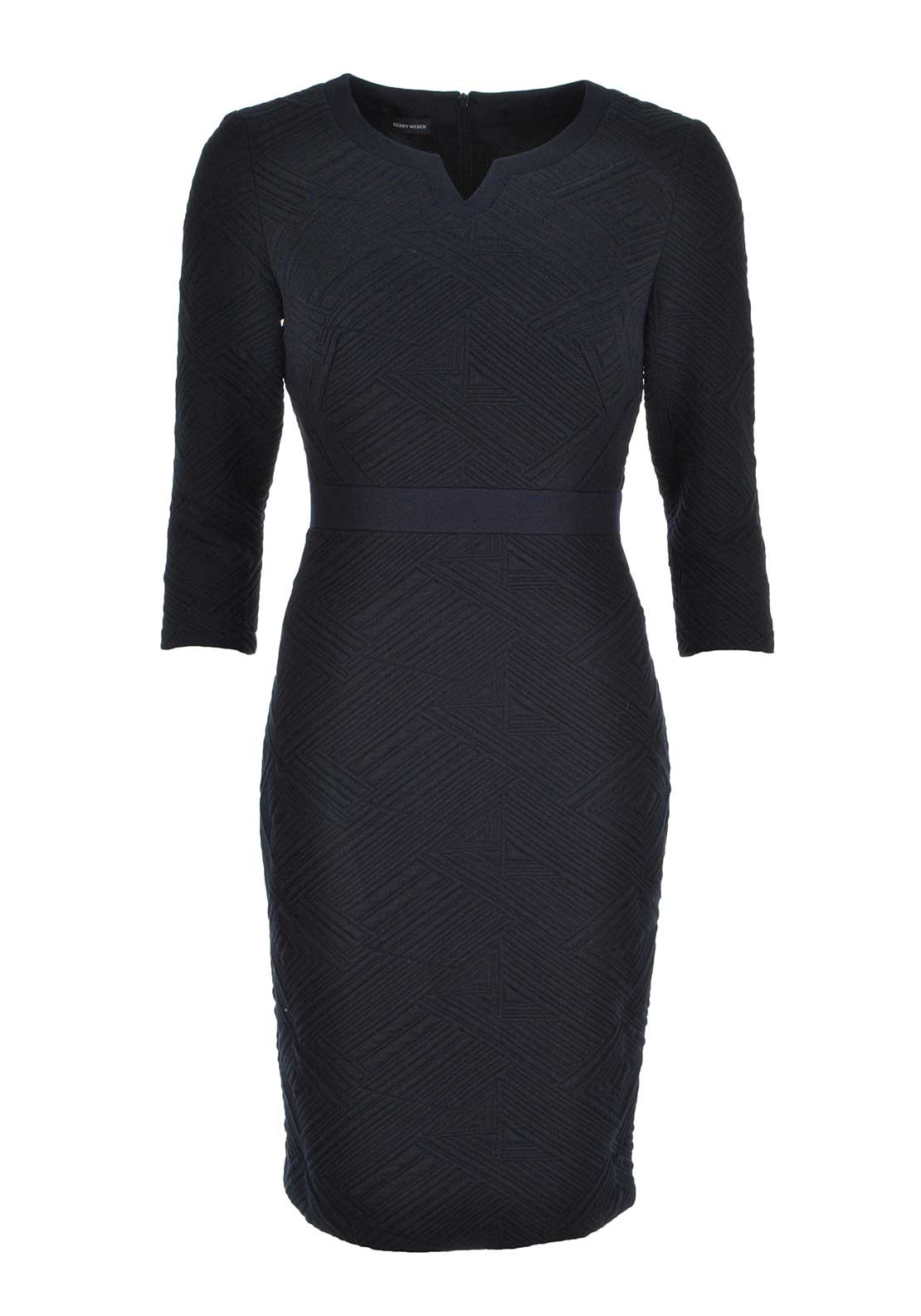 Gerry Weber Embossed Geometric Print Cropped Sleeve Shift Dress, Navy