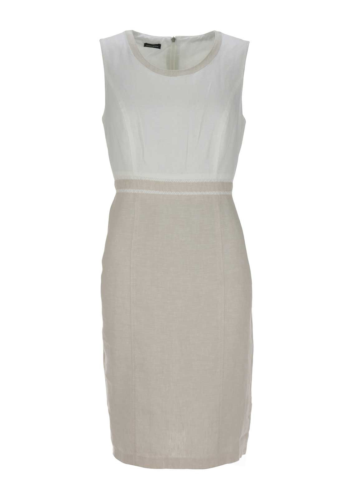 Gerry Weber Sleeveless Linen Pencil Dress, Beige and White