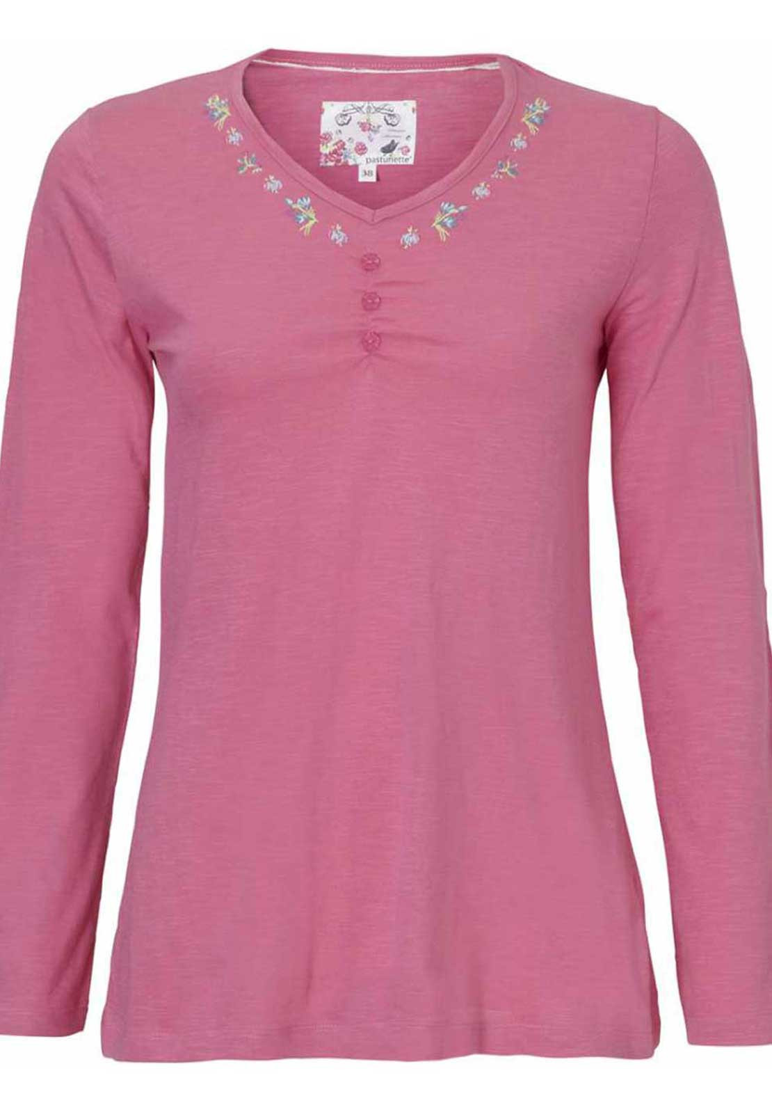 Pastunette Embroidered Floral Print Long Sleeve Pyjama Top, Pink