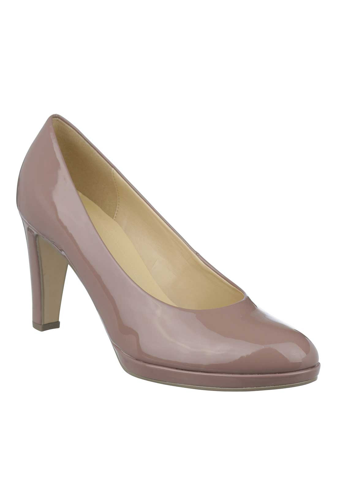Gabor Patent Block Heeled Court Shoes, Taupe