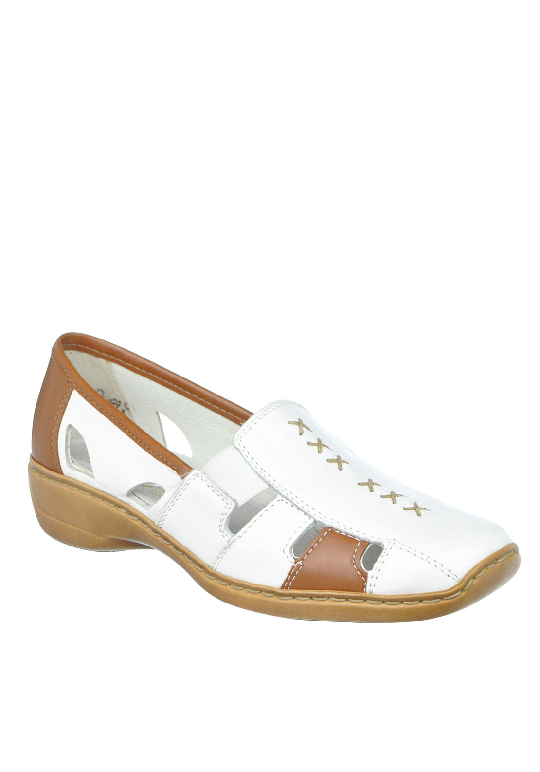 Rieker Womens Leather Cut out leather Shoe, White and Tan