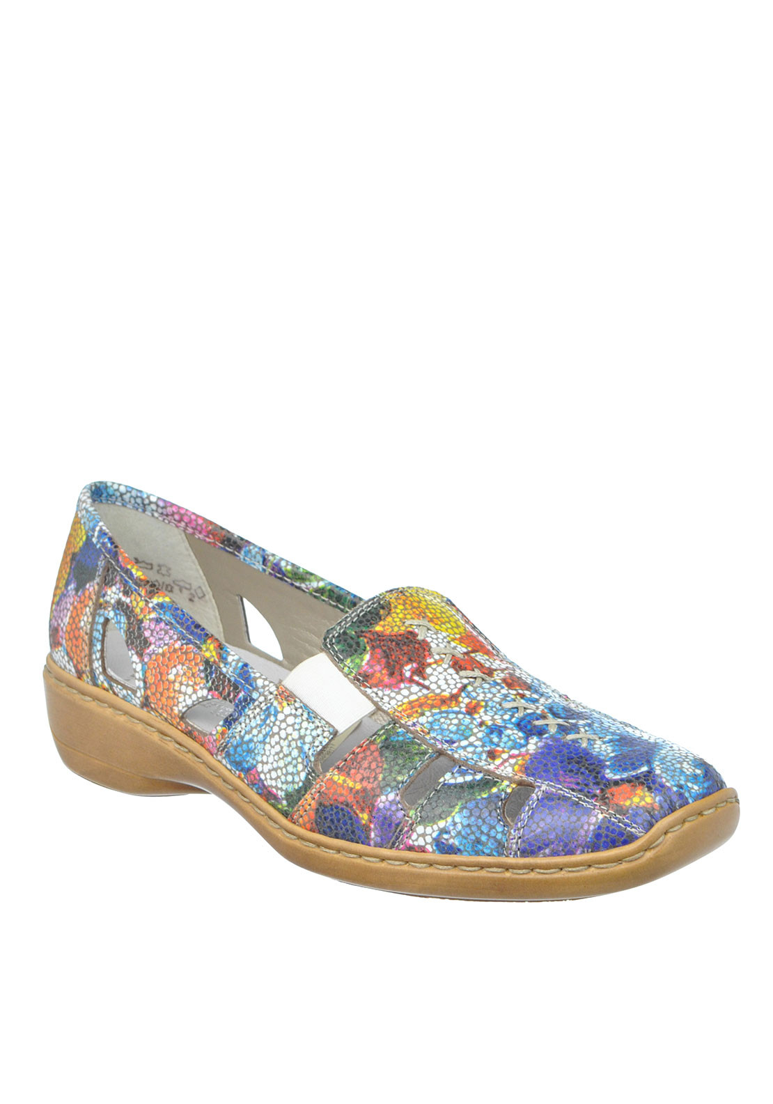 Rieker Womens Leather Cut out leather Shoe, Multi-Coloured