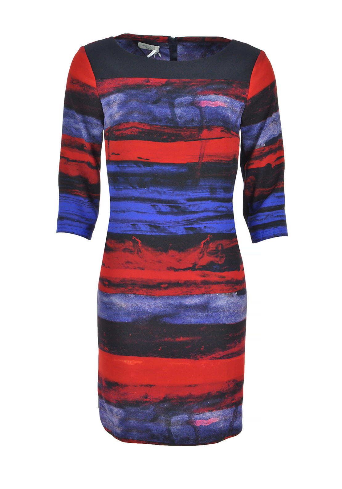 Apanage Brushstroke Print Cropped Sleeve Dress, Multi-Coloured