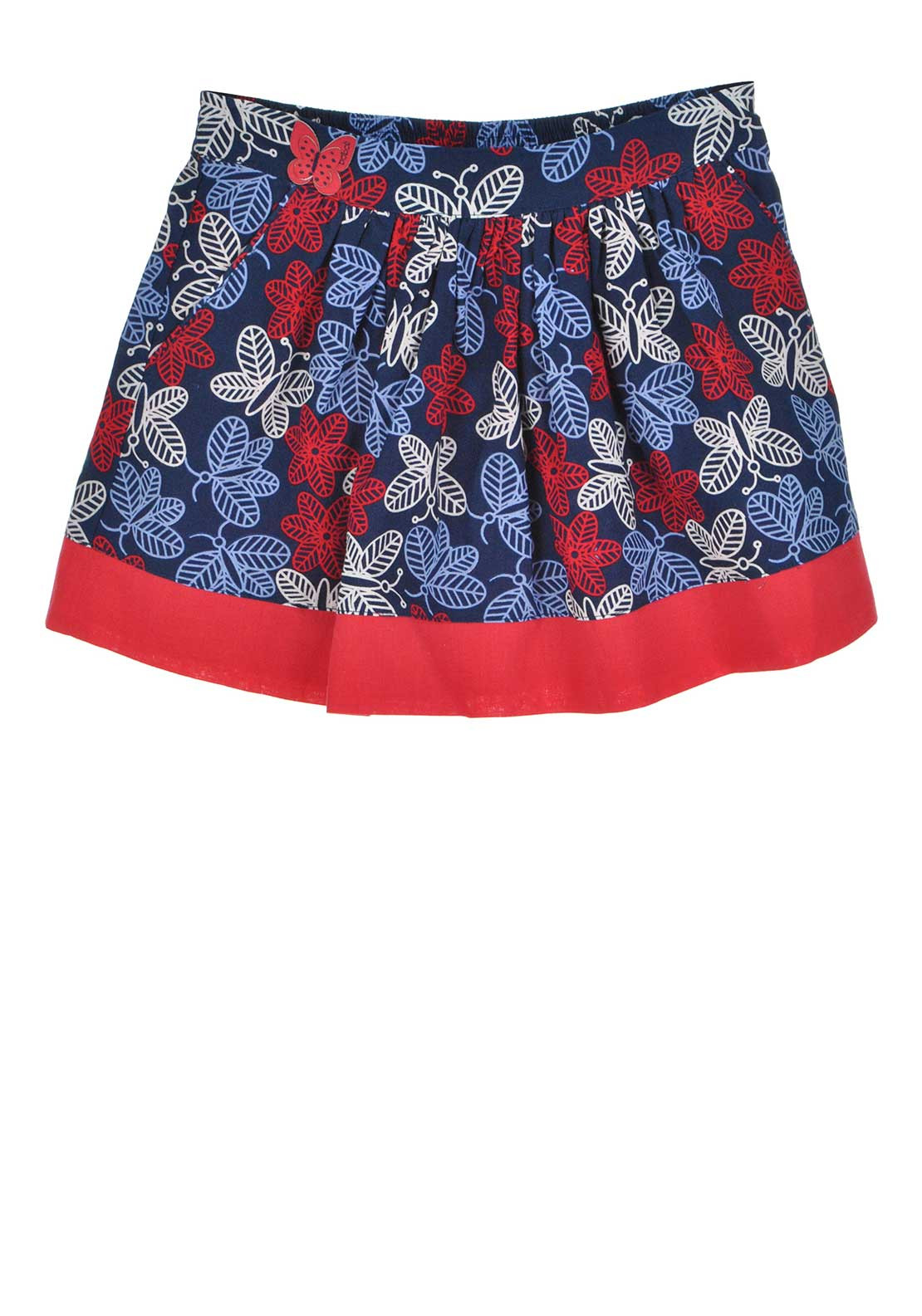 Boboli Girls Flower Print Skirt, Blue and Red
