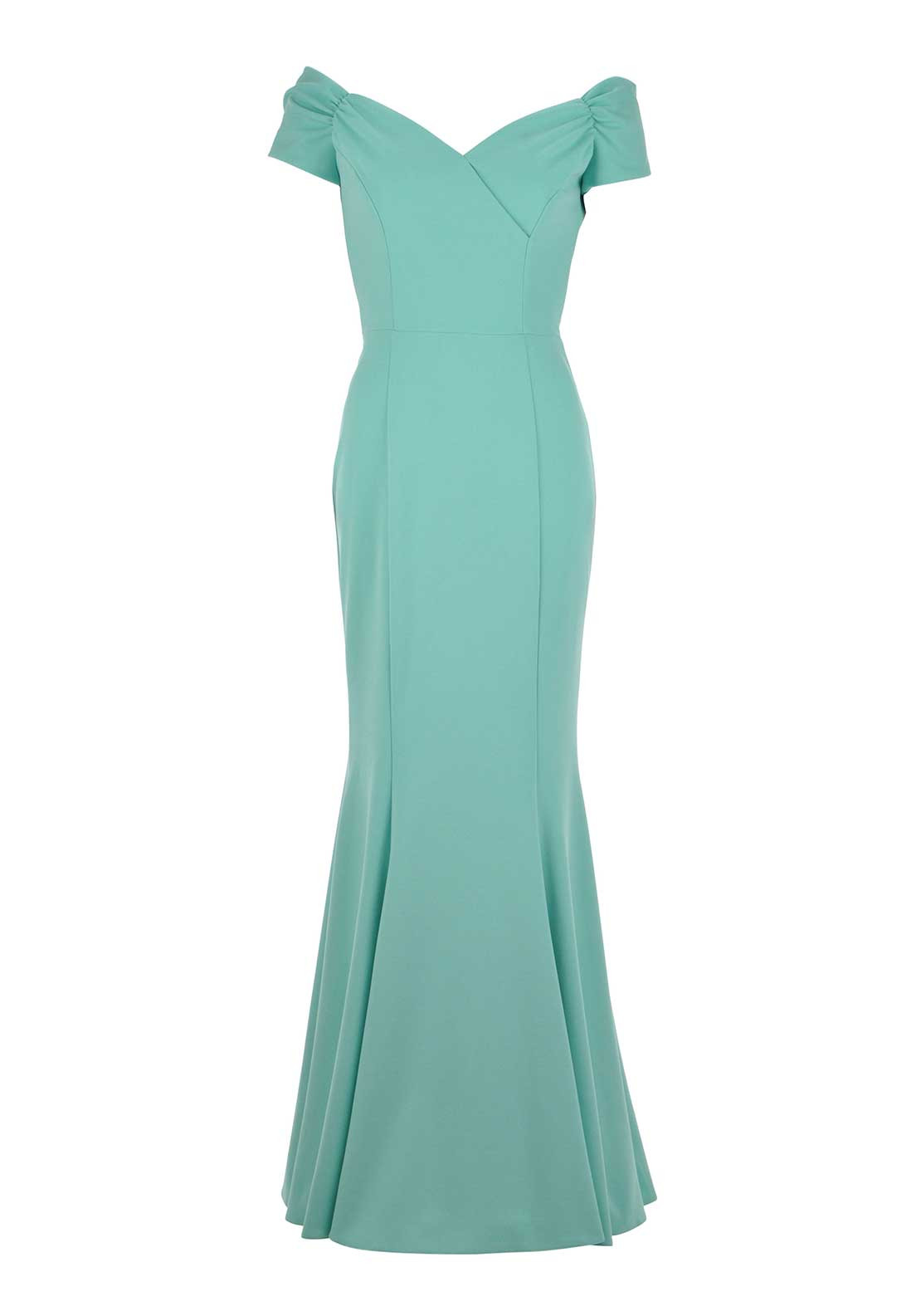 The Pretty Dress Company Fatale Bardot Neck Long Dress, Mint
