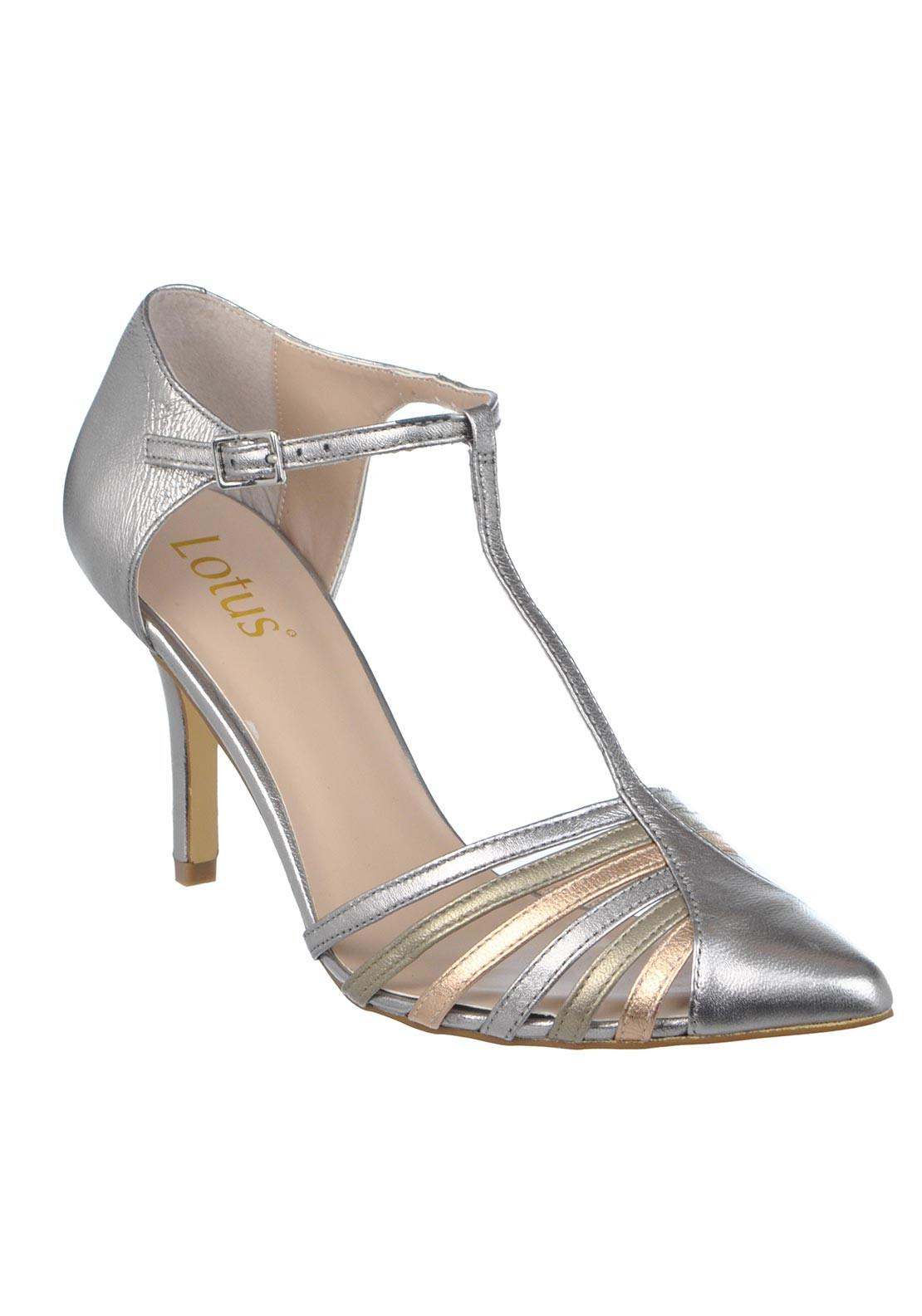 Lotus Pointed Toe Metallic T-bar Heeled Leather Shoes, Silver