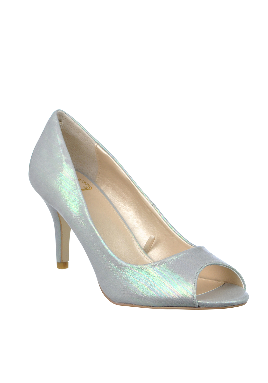 Lotus Hallmark Metallic Striped Peep Toe Heeled Shoes, Grey