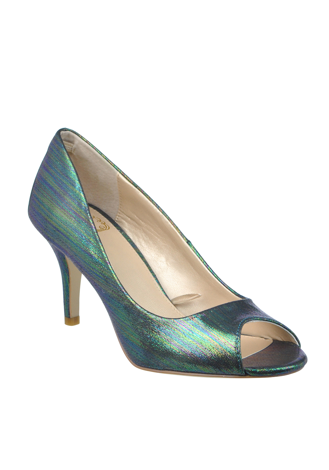 Lotus Hallmark Metallic Striped Peep Toe Heeled Shoes, Green