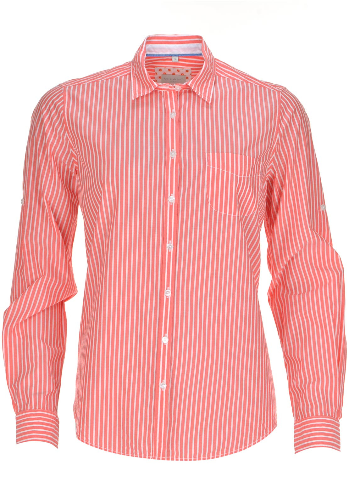 Milano Striped Long Sleeve Blouse, Coral