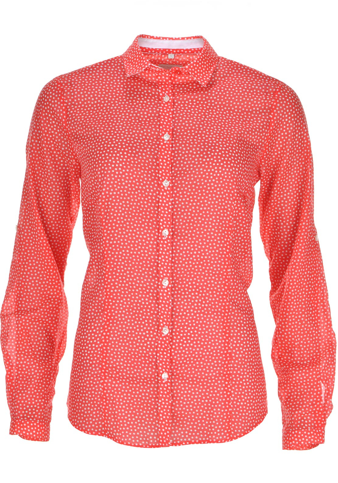 Milano Polka Dot Print Long Sleeve Blouse, Red