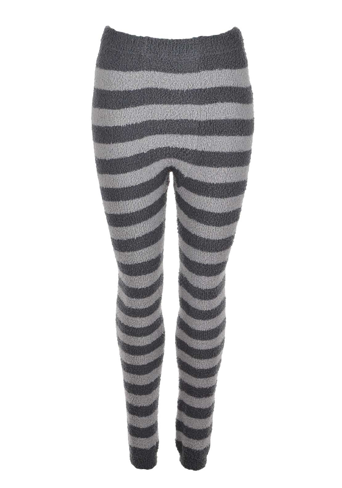 Rebelle Striped Fleece Legging Pyjama Bottoms, Grey