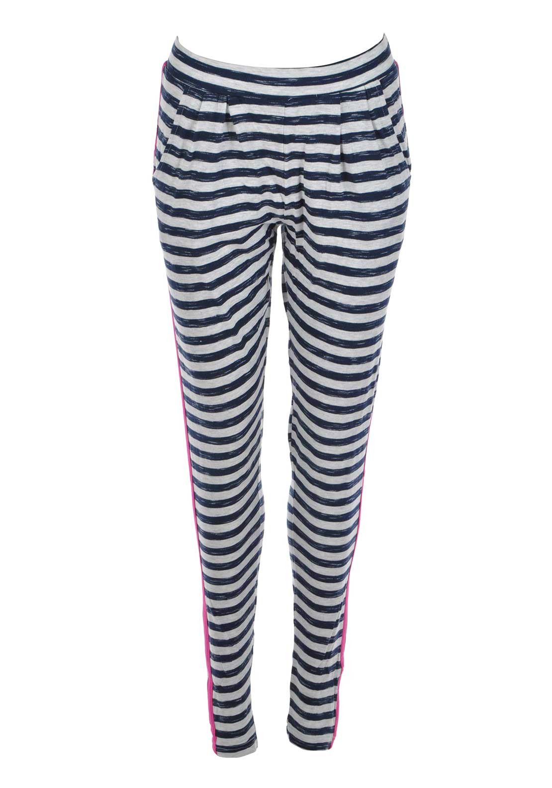 Rebelle Striped Pyjama Bottoms, Grey and Navy