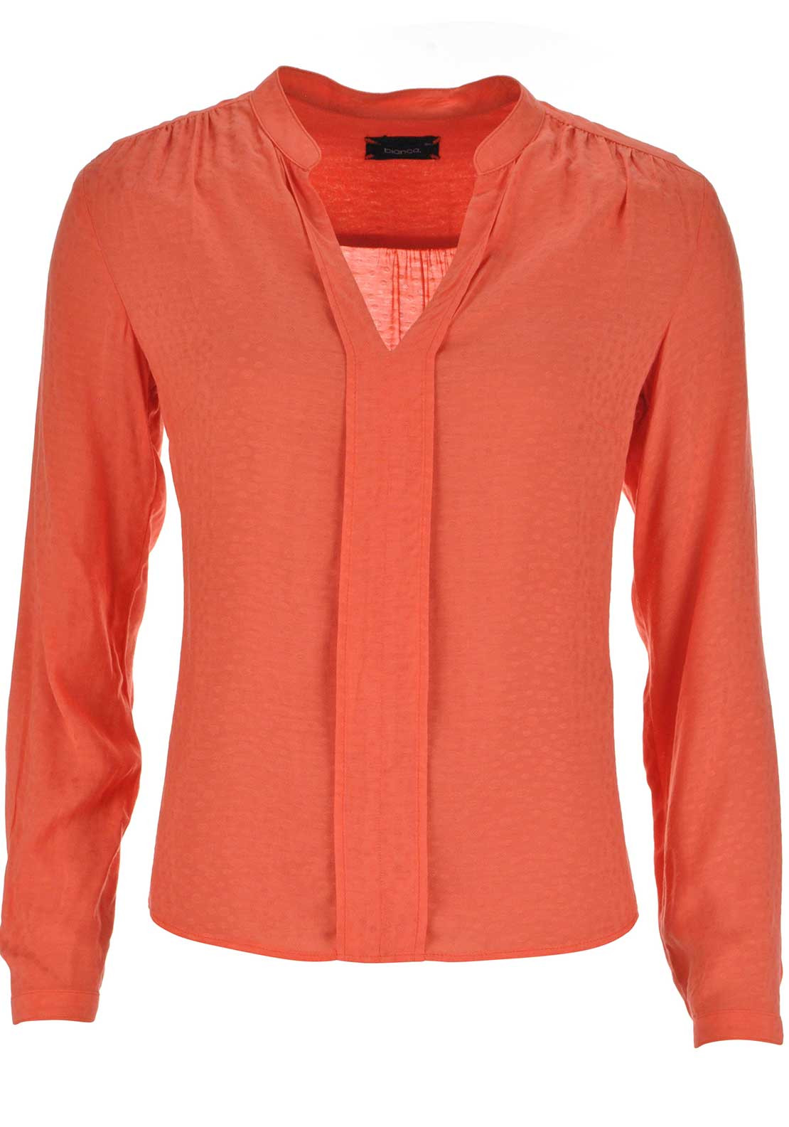 Bianca Embossed Print V-Neck Blouse, Orange