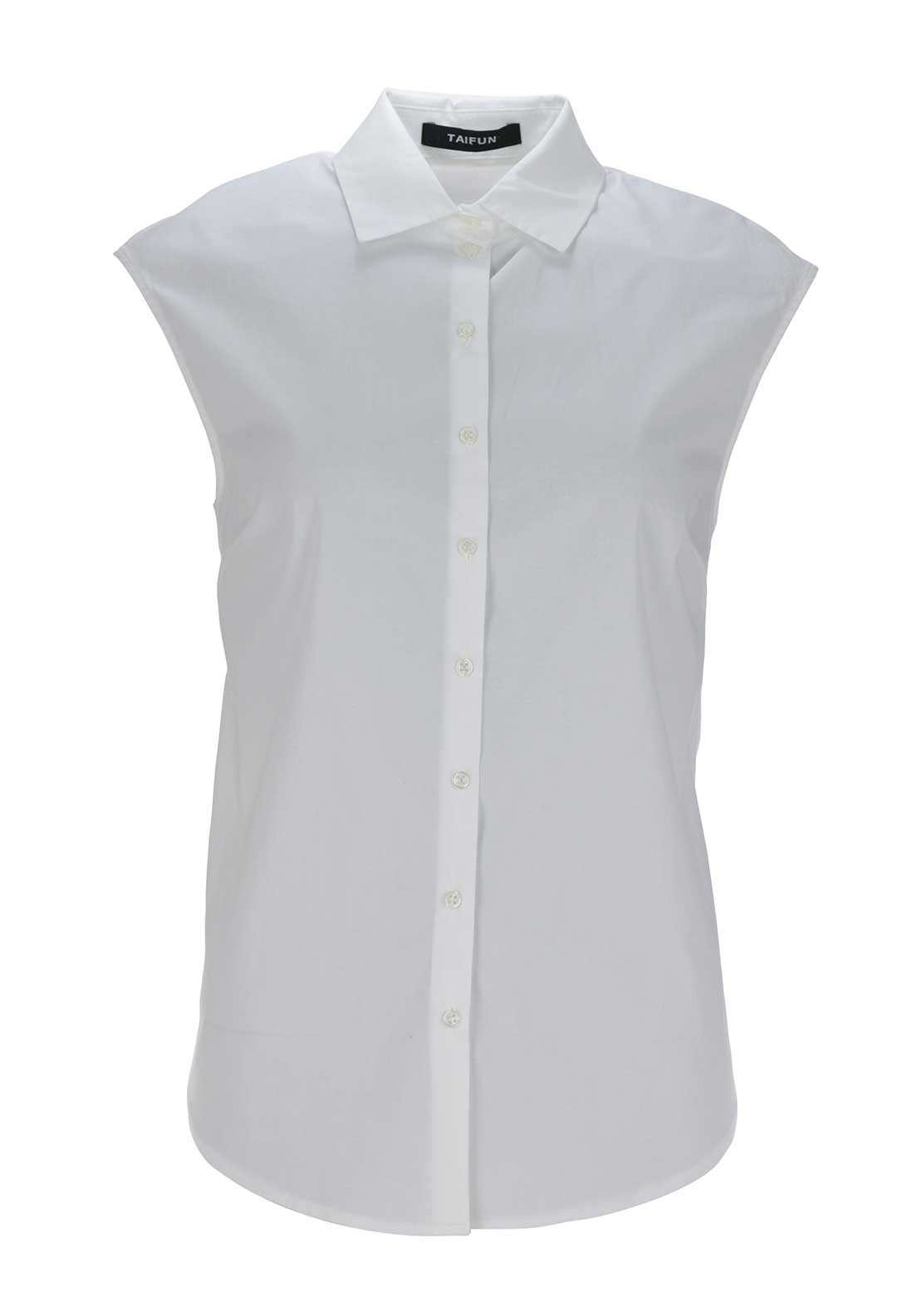 Taifun Sleeveless Cotton Blouse, White