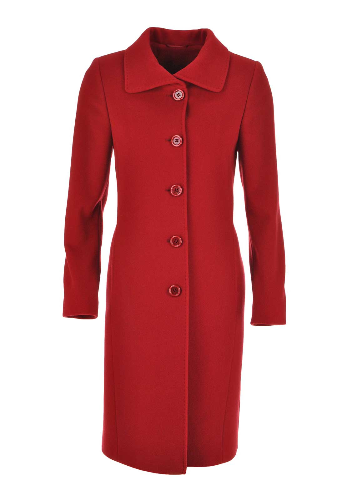 Christina Felix Single Breasted Wool and Cashmere Blend Coat, Red