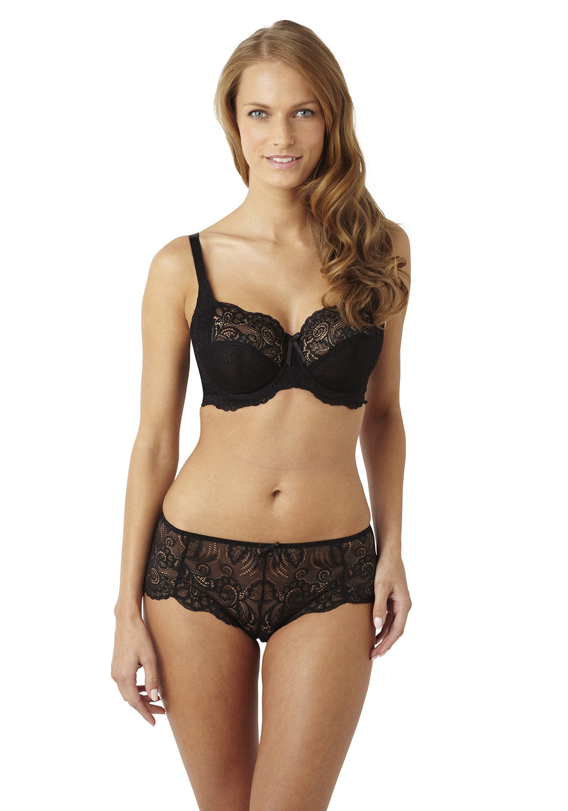 Panache Andorra Lace Shorty Briefs, Black