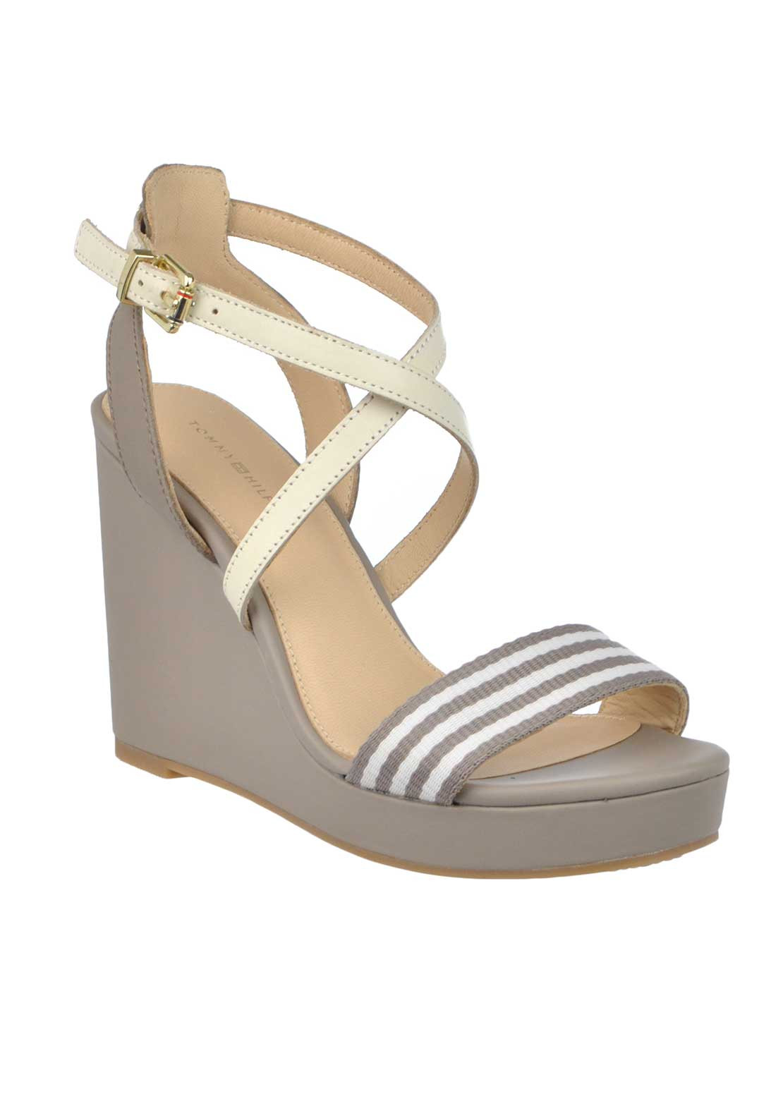 Tommy Hilfiger Womens Leather Criss Cross Ankle Strap Wedged Sandals, Taupe