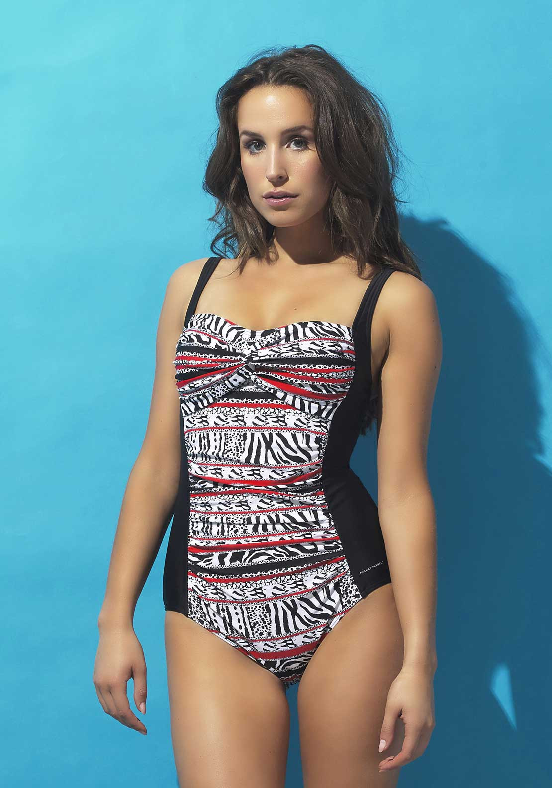 Nickey Nobel Azalea Animal Print Swimsuit, Black Multi