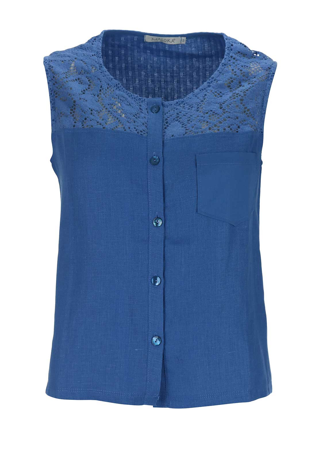 Maloka Amy Crochet Trim Button Through Linen Sleeveless Top, Blue