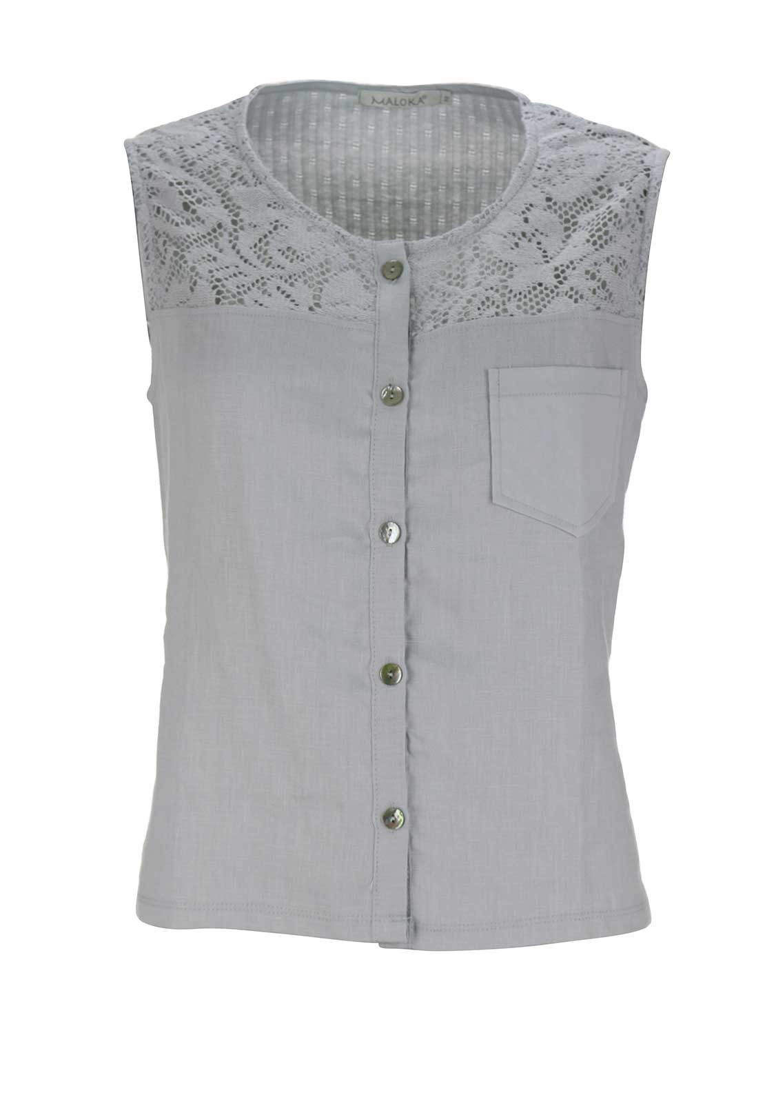 Maloka Amy Crochet Trim Button Through Linen Sleeveless Top, Grey