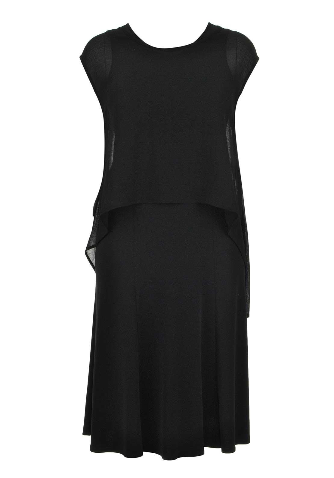 Doris Streich Ankle Length Dress with Sheer Overlay Top, Black