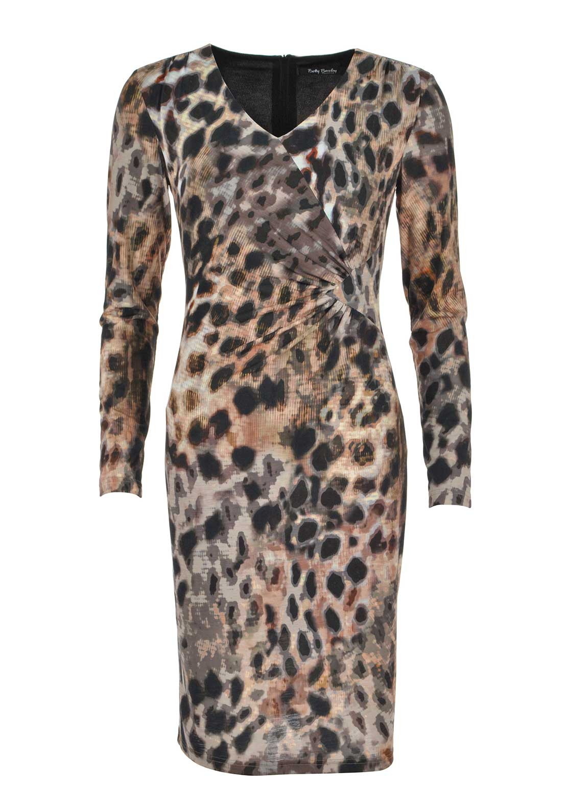 Betty Barclay Abstract Animal Print Long Sleeve Jersey Dress, Multi-Coloured