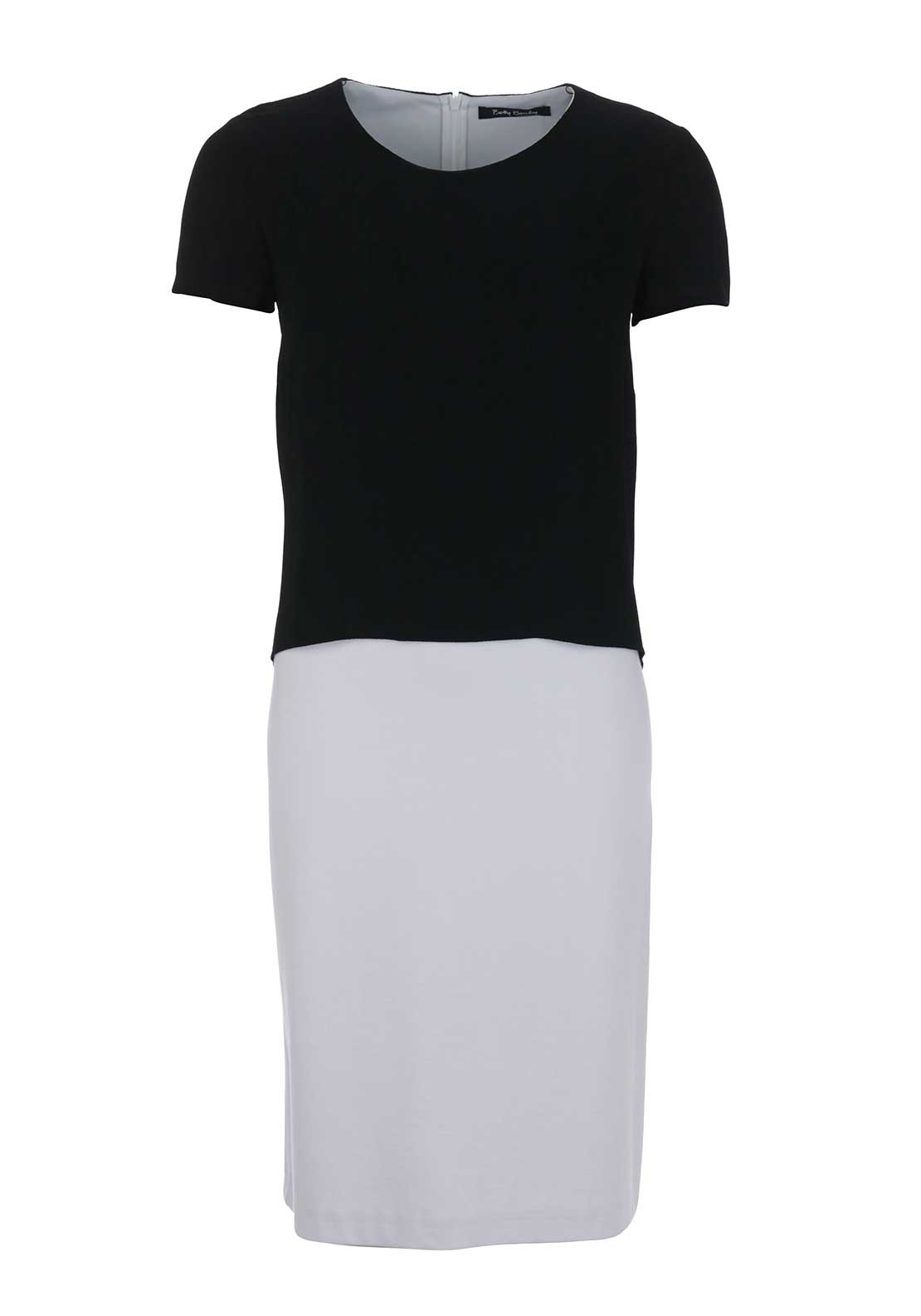 Betty Barclay Crepe Overlay Monochrome Jersey Pencil Dress, Black and White