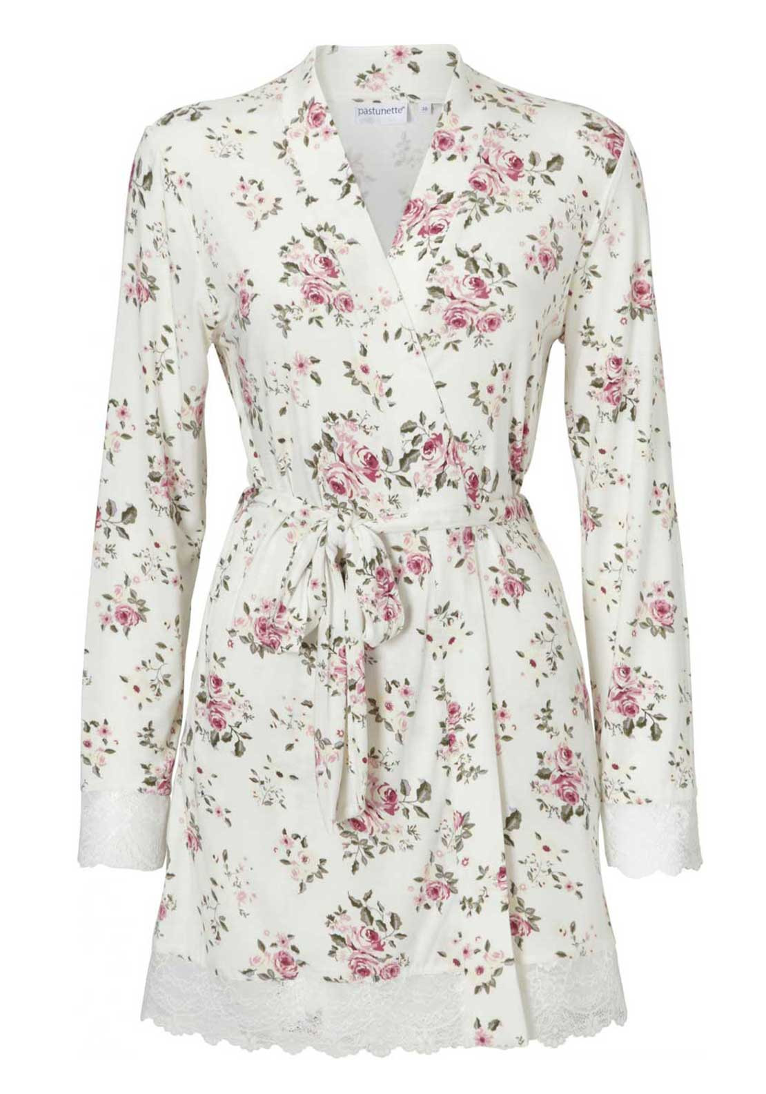 Pastunette Floral Print Dressing Gown, White Multi