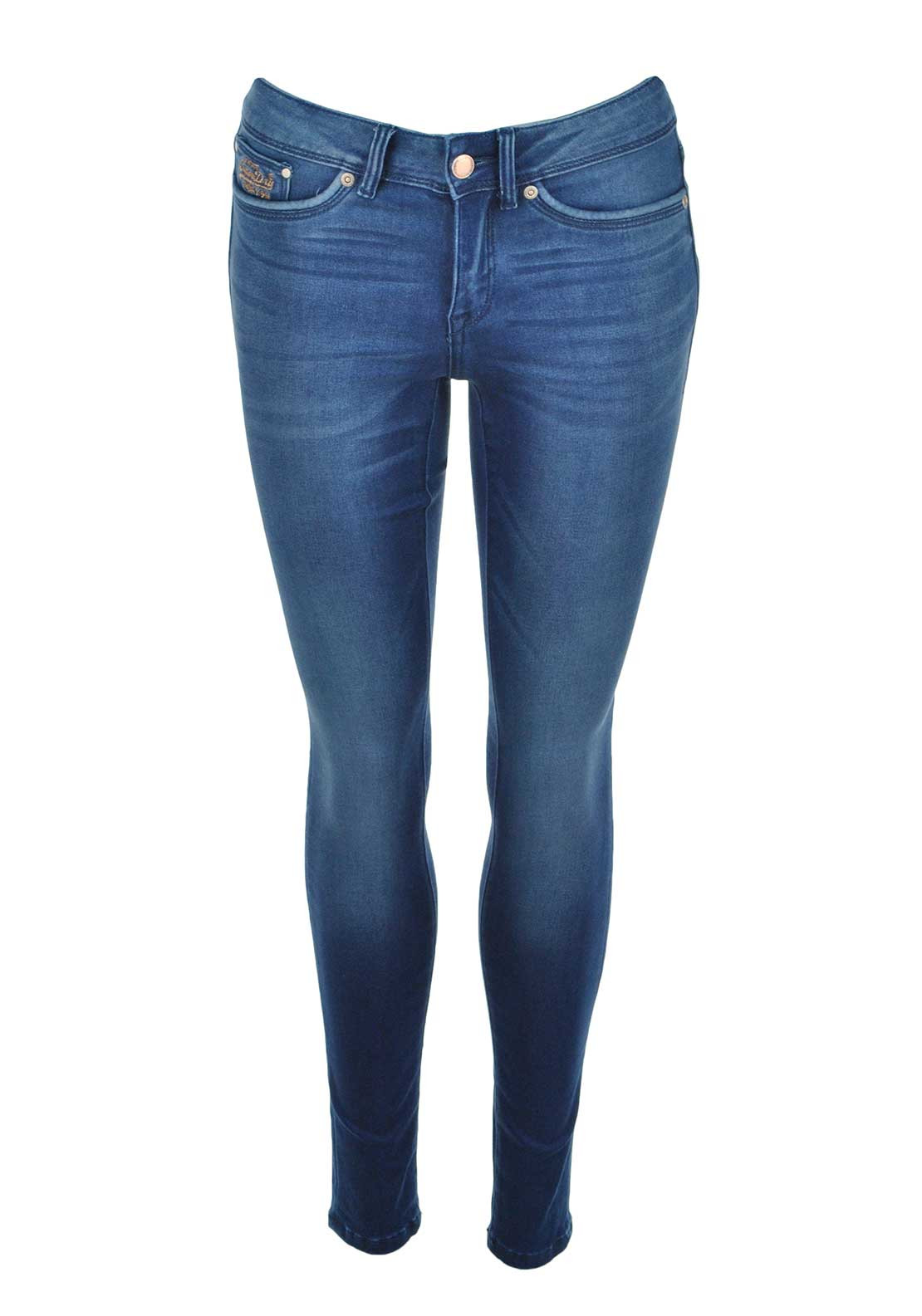 Superdry Womens Super Skinny Jeans, Pop Chalked Blue