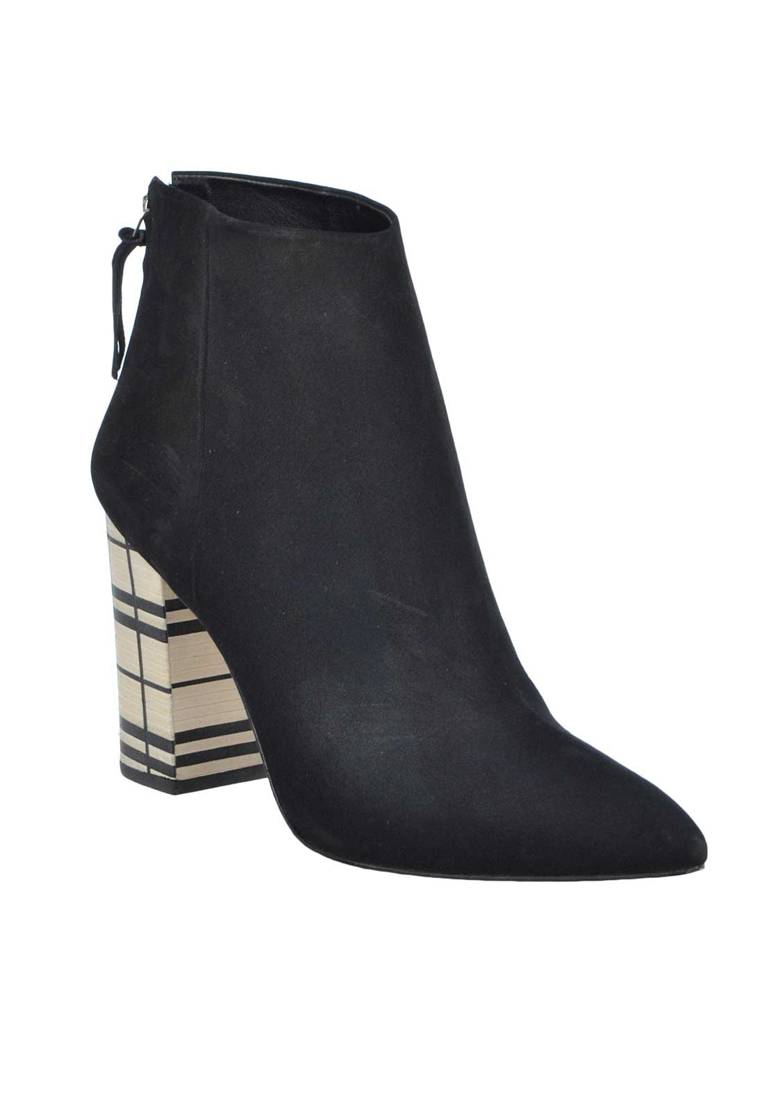 Unique Footwear Suede Leather Pointed Toe Chequered Block Heeled Boots, Black