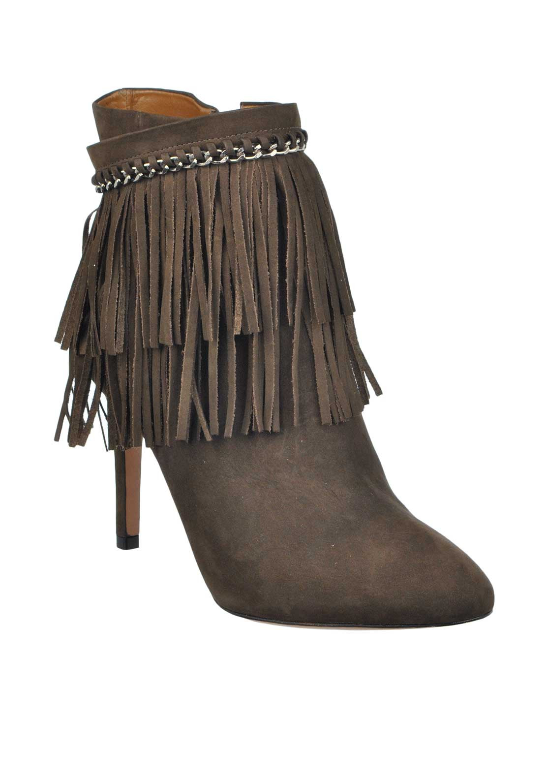 Unique Footwear Suede Leather Fringed Chain Heeled Short Boots, Taupe