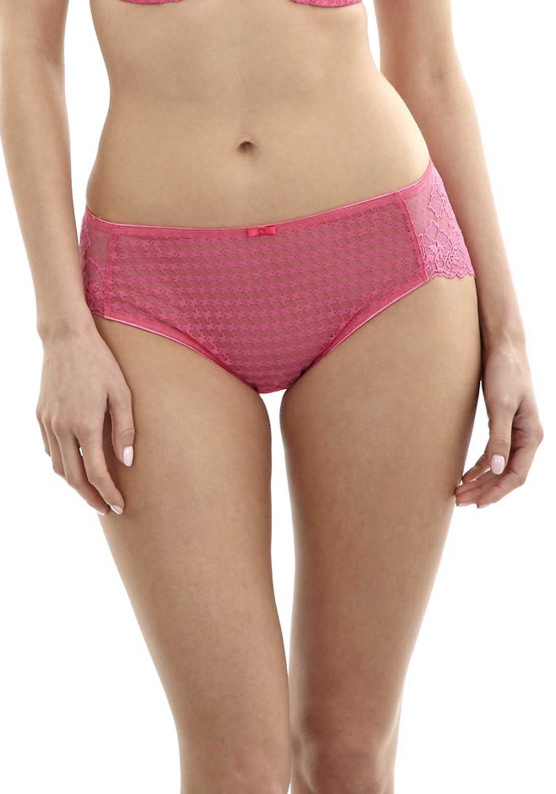 Panache Envy Houndstooth Print Lace Brief, Hot Pink