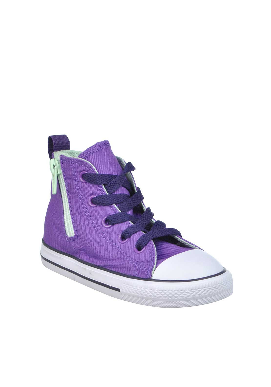 Converse Baby Girls All Star Chuck Taylor Zip High Top Trainers, Purple