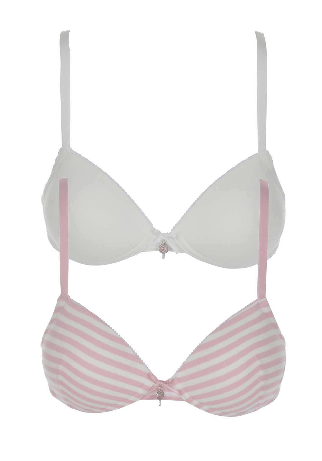 Royce Missy Candy Floss Twin Pack Bra, Pink and White