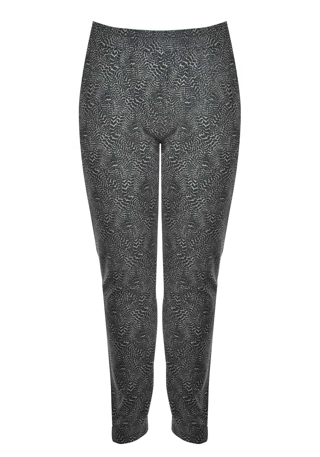 Ciso Printed Straight Leg Jersey Trousers, Grey