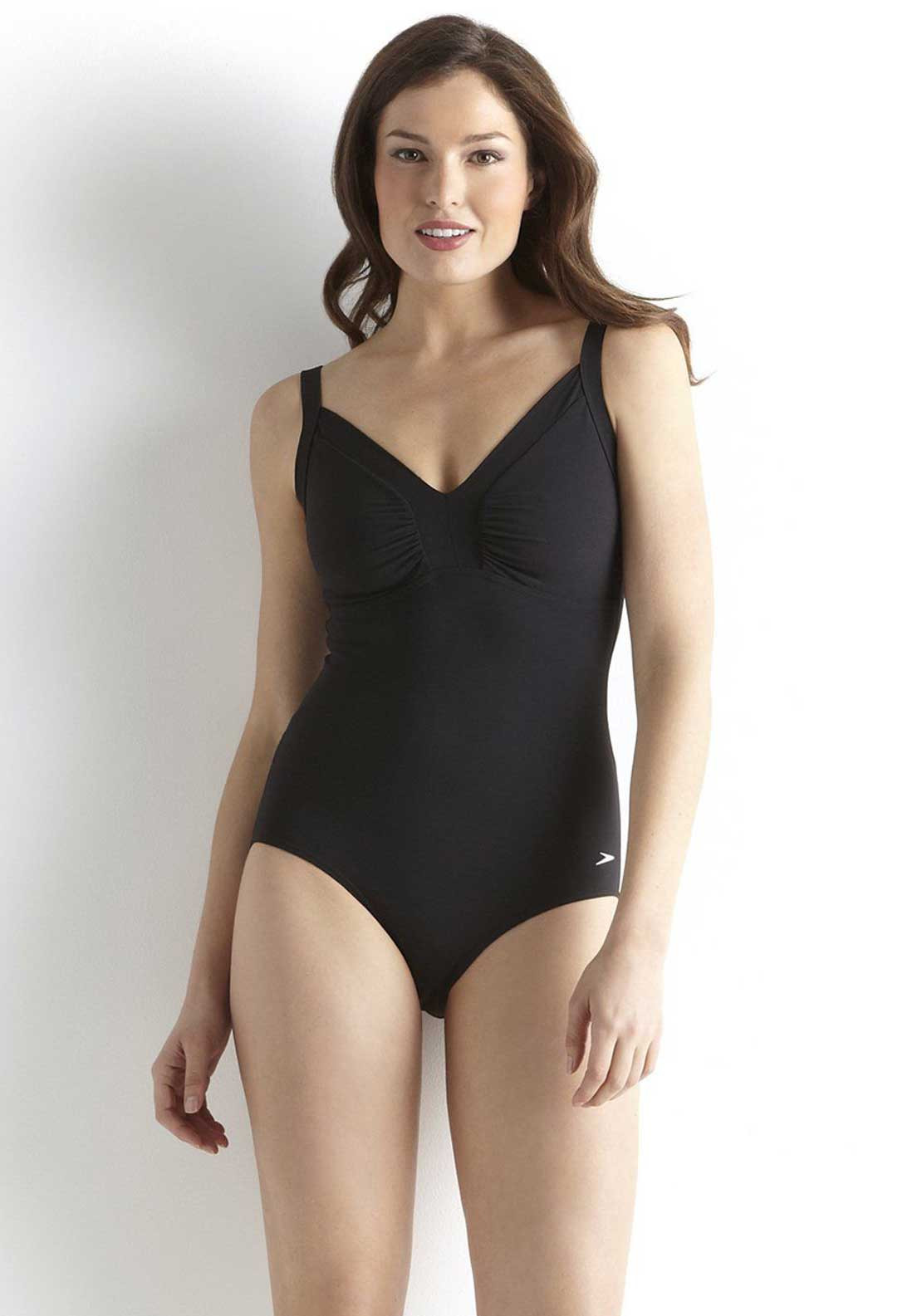 Speedo Womens Sculpture Watergem Swimsuit, Black
