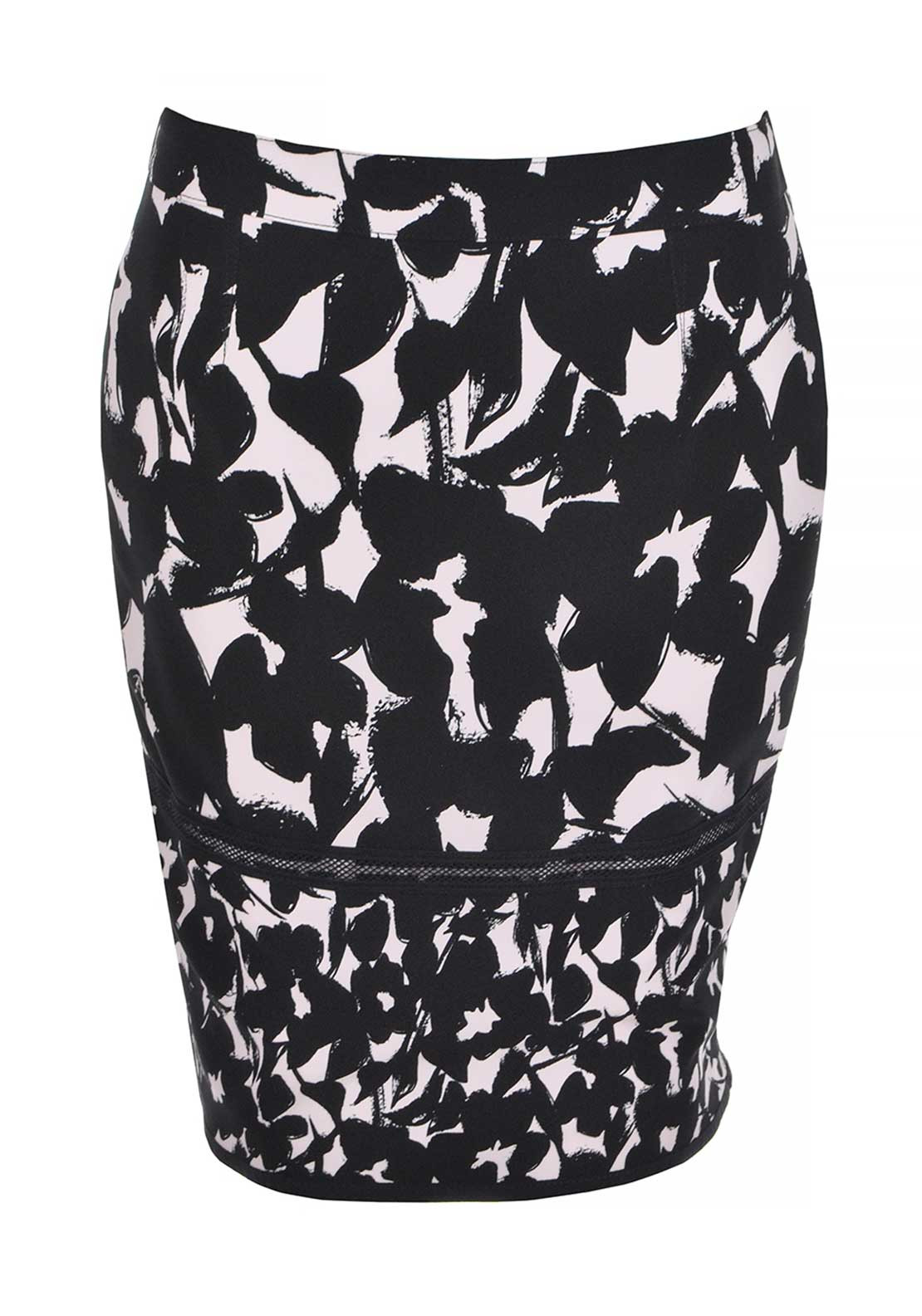 Apanage Abstract Floral Print Reversible Pencil Skirt, Black and Pink