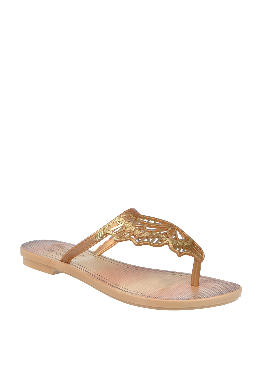 Ipanema Butterfly Wing Toe Thong Flip Flop Sandal, Gold