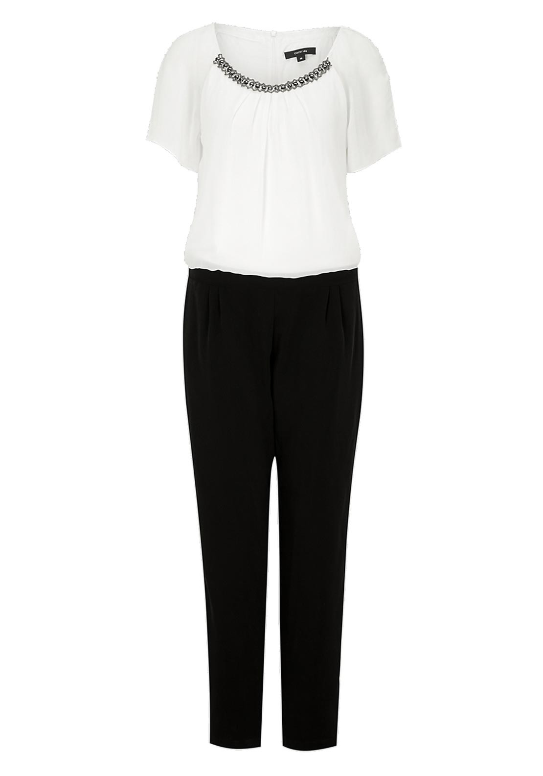 Comma Embellished Short Sleeve Jumpsuit, White and Black