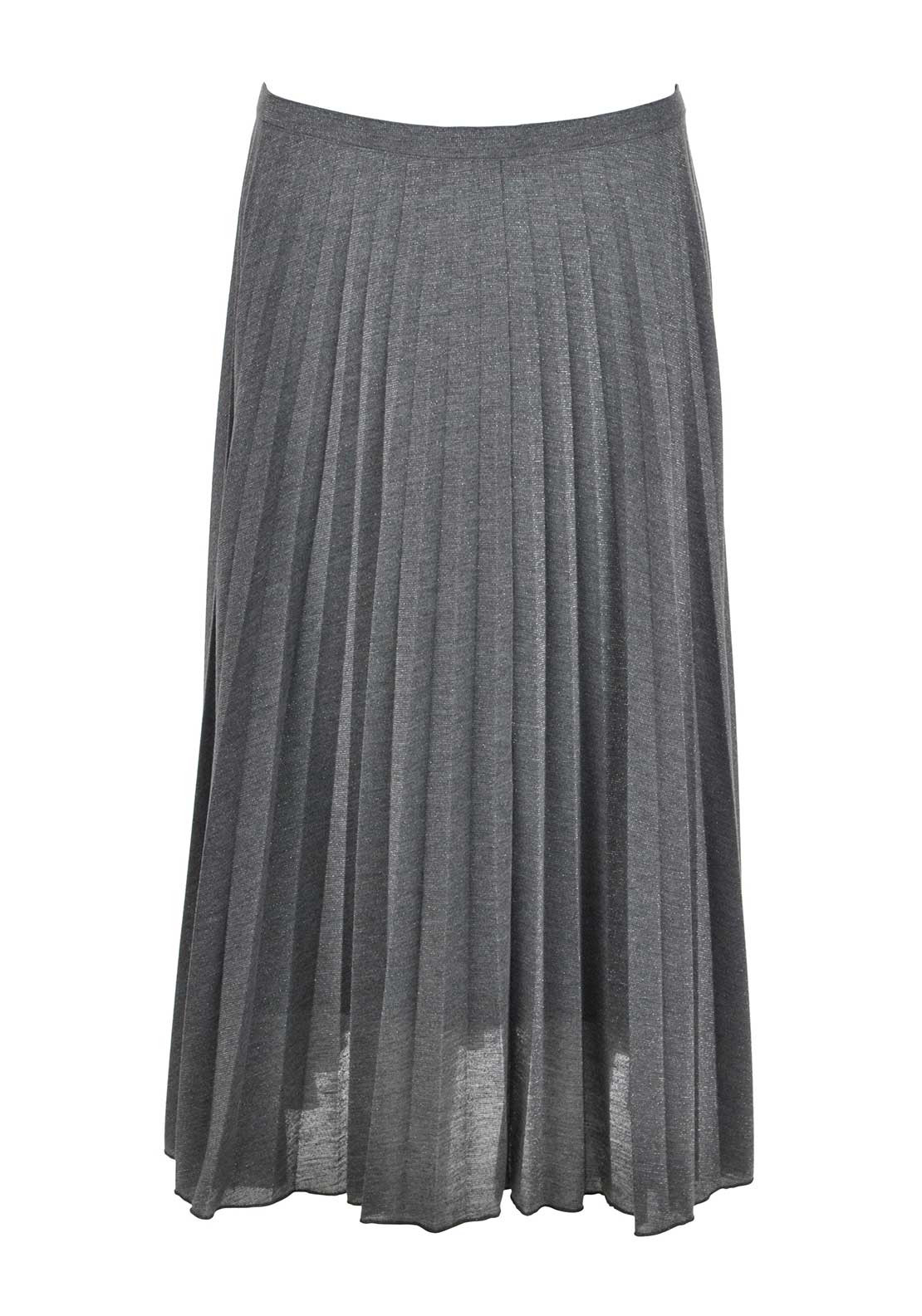 Apanage Metallic Shimmer Pleated Jersey Midi Skirt, Grey