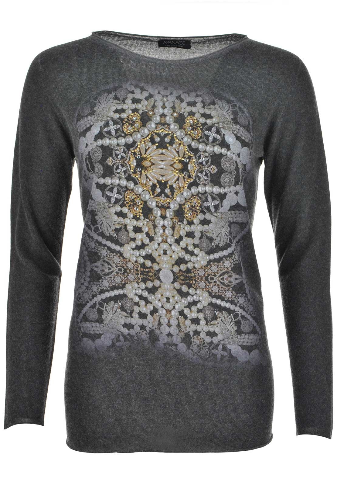 Apanage Embellished Jewellery Print Wool Blend Sweater Jumper, Grey