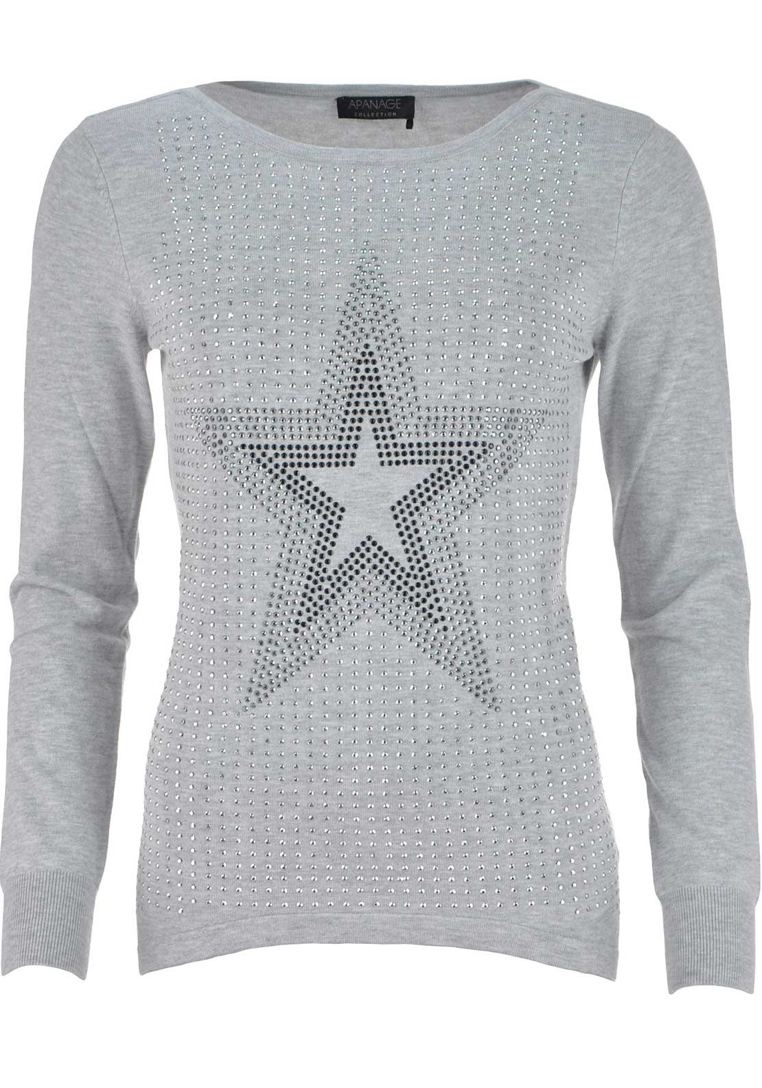 Apanage Embellished Star Print Long Sleeve Sweater Jumper, Grey