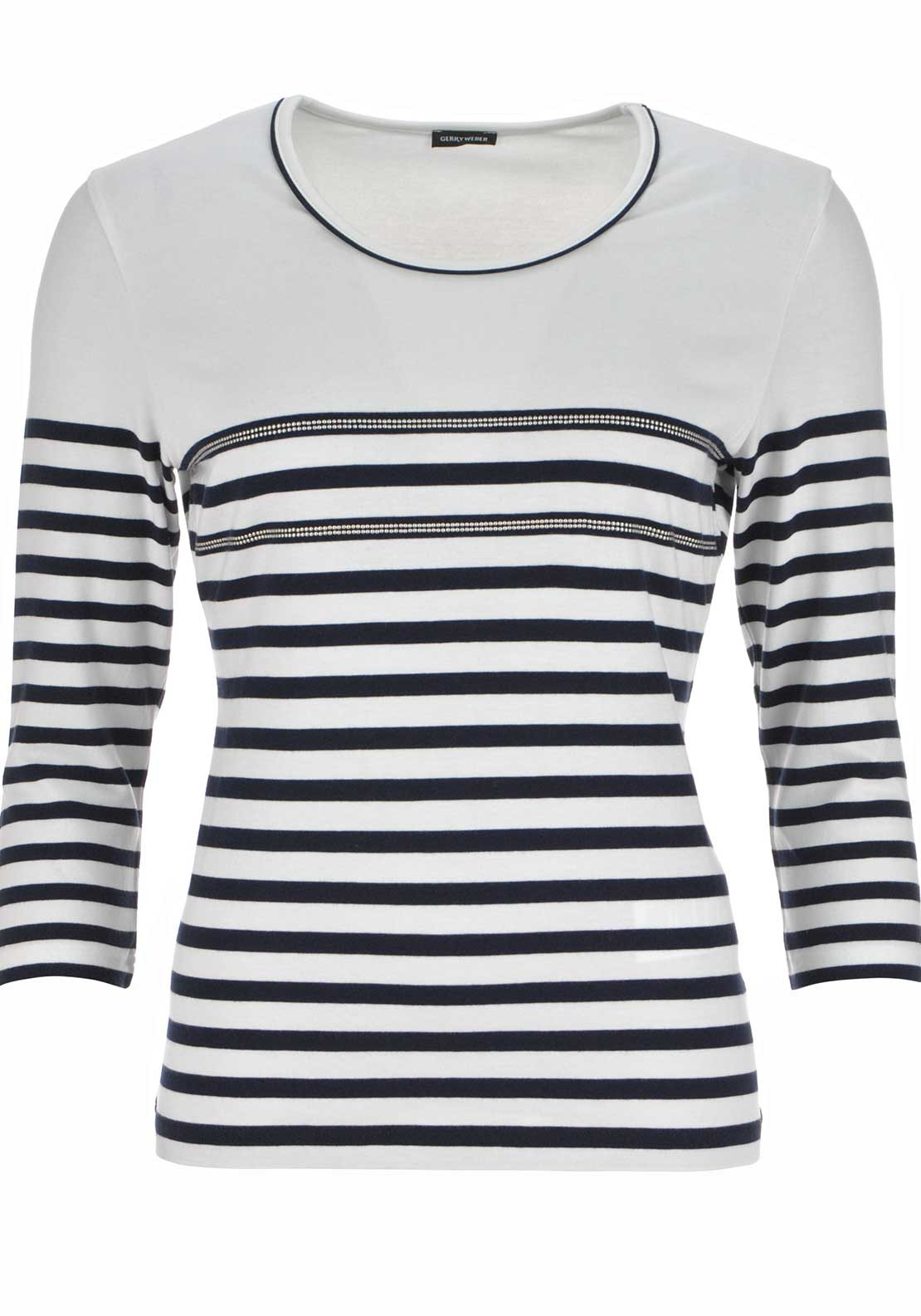 Gerry Weber Striped Cropped Sleeve T-Shirt, Ivory and Navy