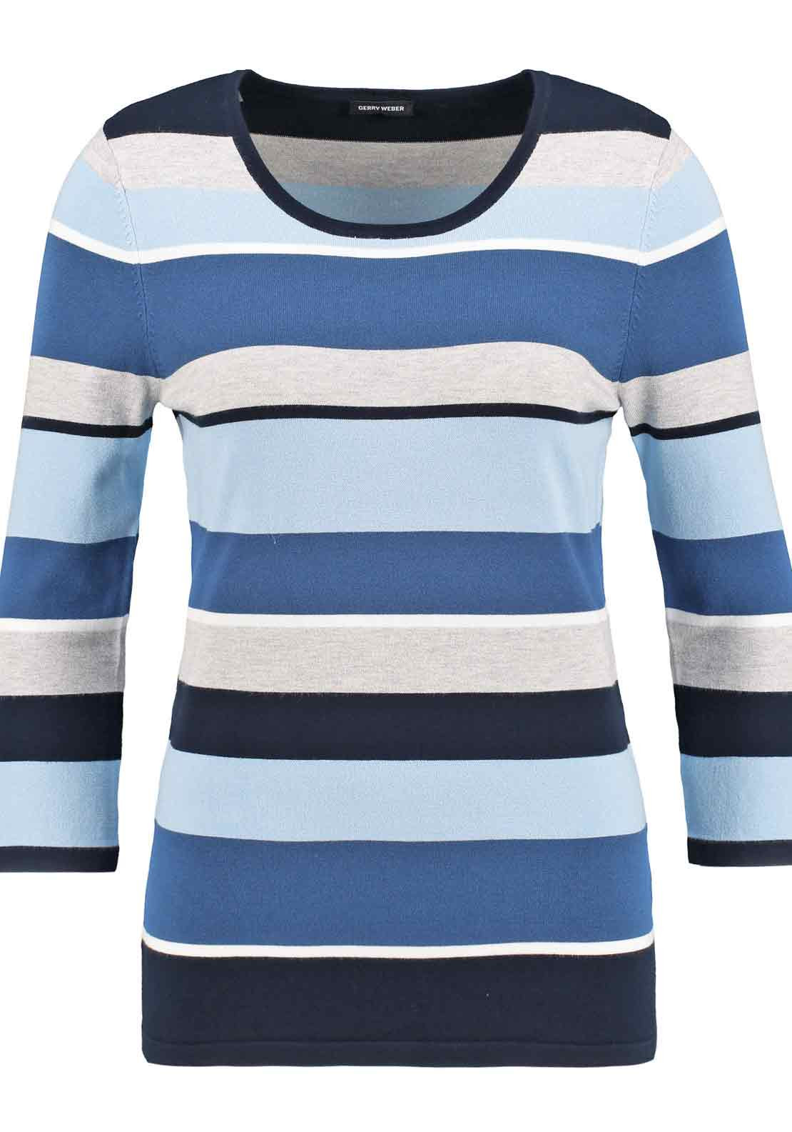 Gerry Weber Striped Cropped Sleeve Sweater Jumper, Blue and Navy