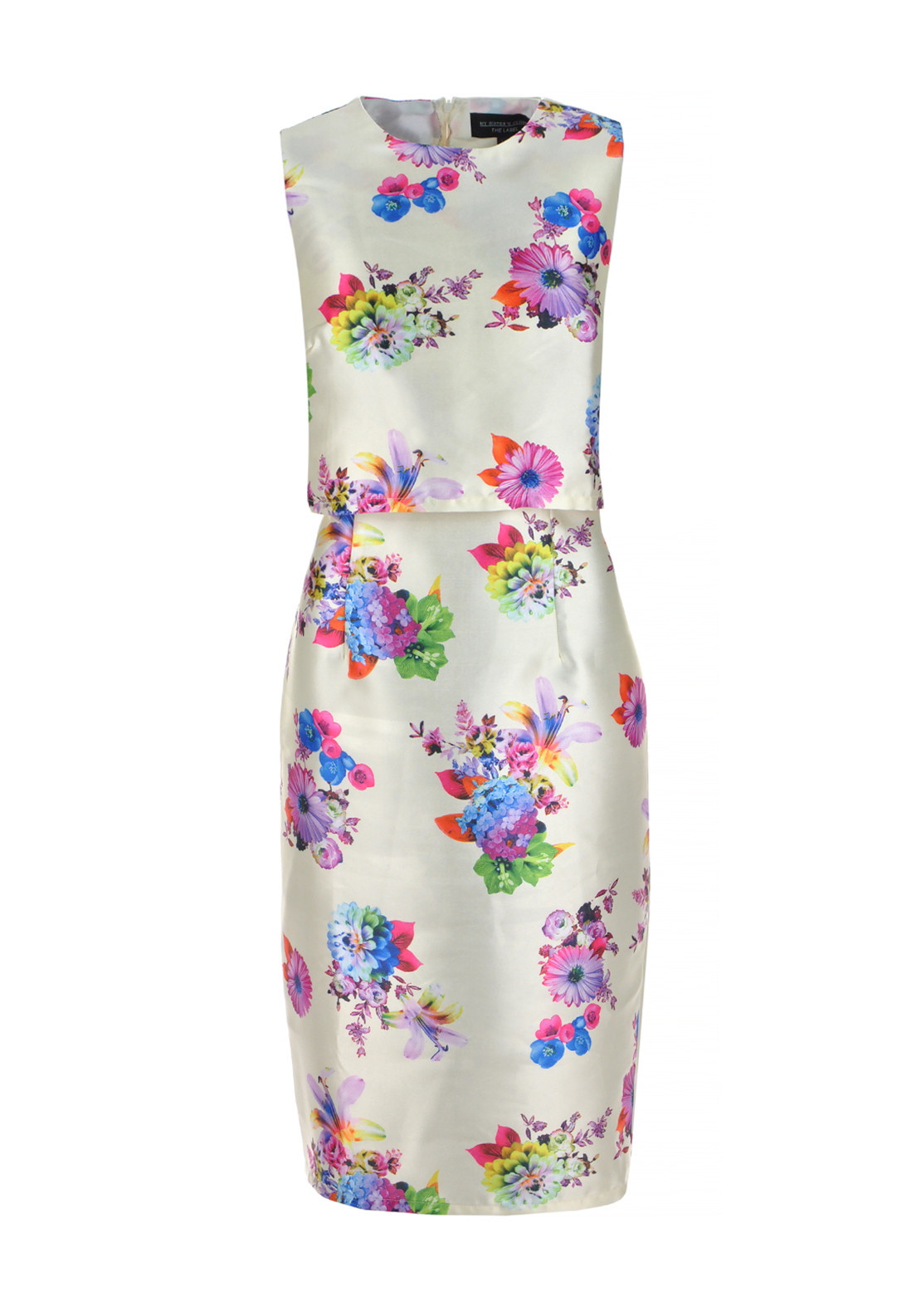My Sister's Closet Alice Floral Print Satin Overlay Dress, Cream