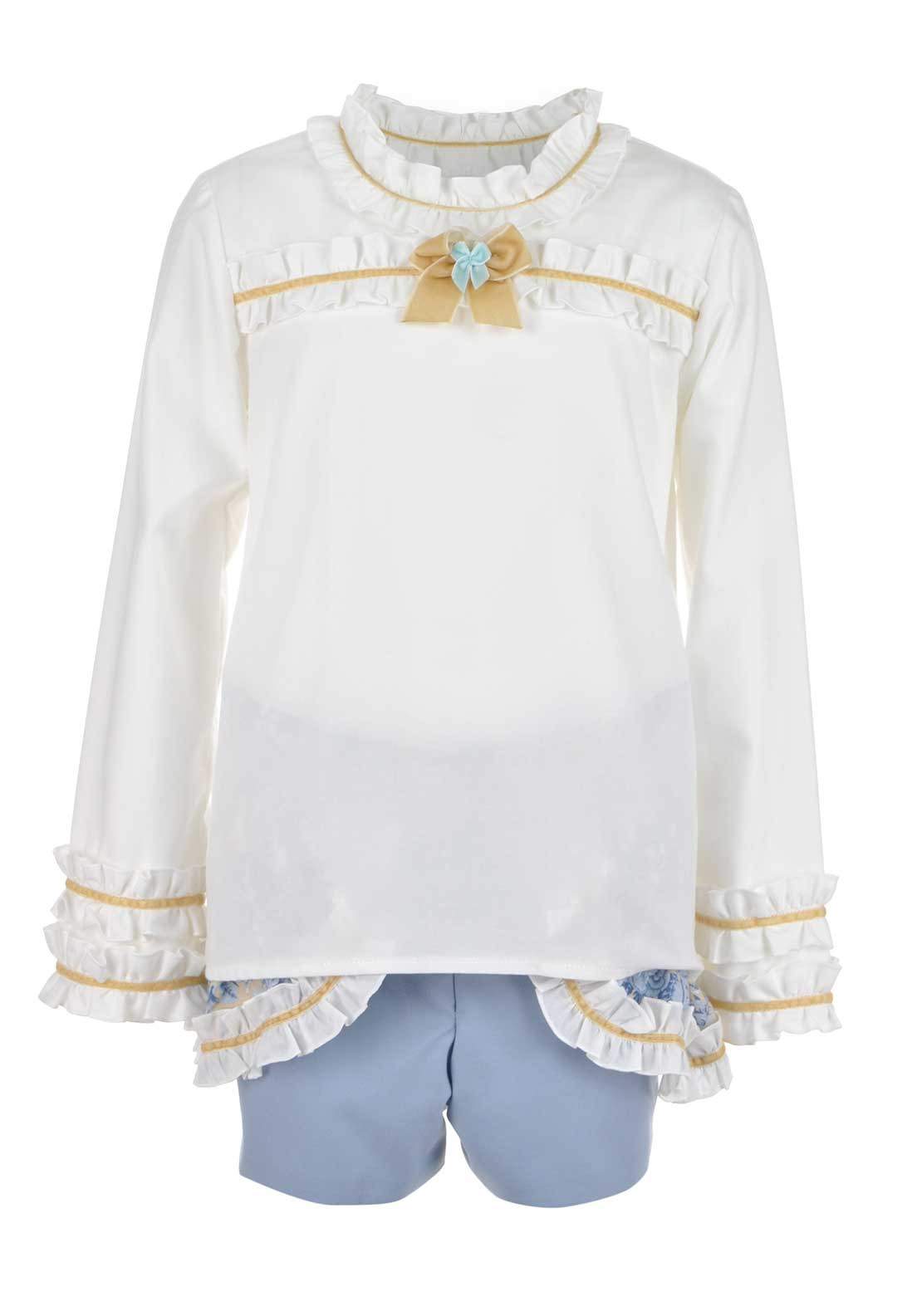 Bea Cadillac Girls long Sleeve Frilled Top and Shorts Set, White and Blue