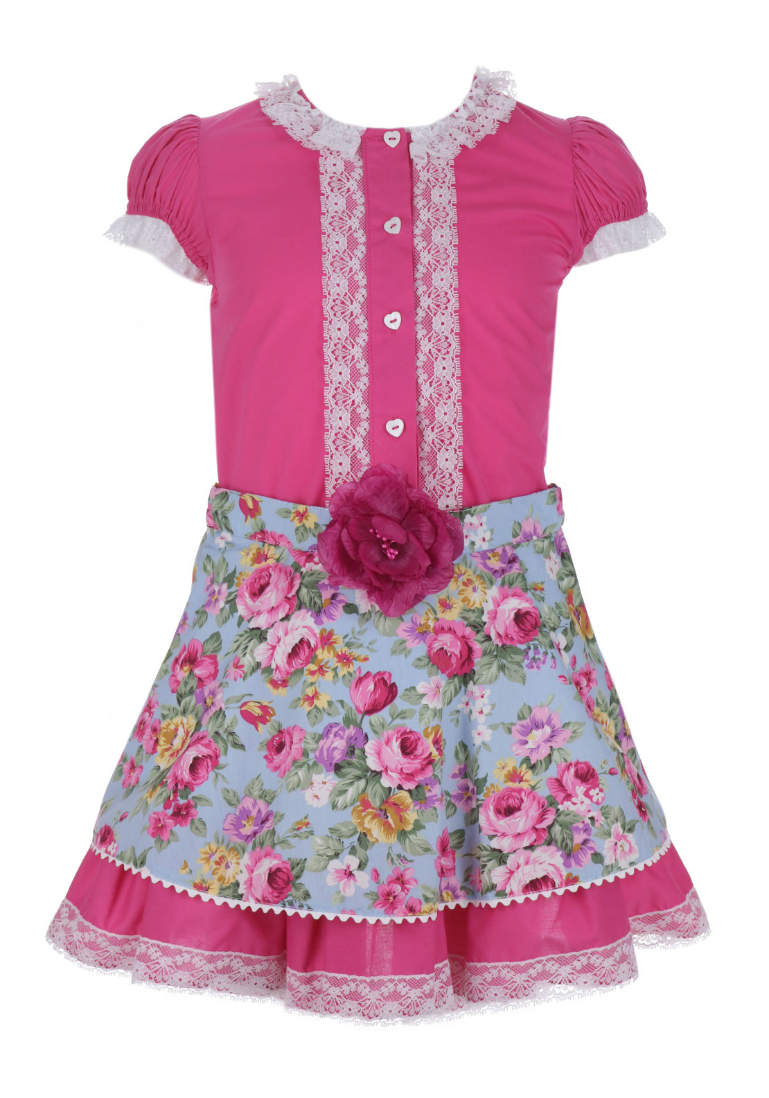 Bea Cadillac Frilled Blouse and Rose Print Skirt, Pink