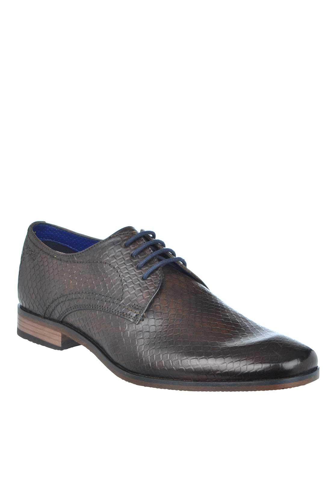 Bugatti Reptile Print Leather Lace Up Shoes, Brown