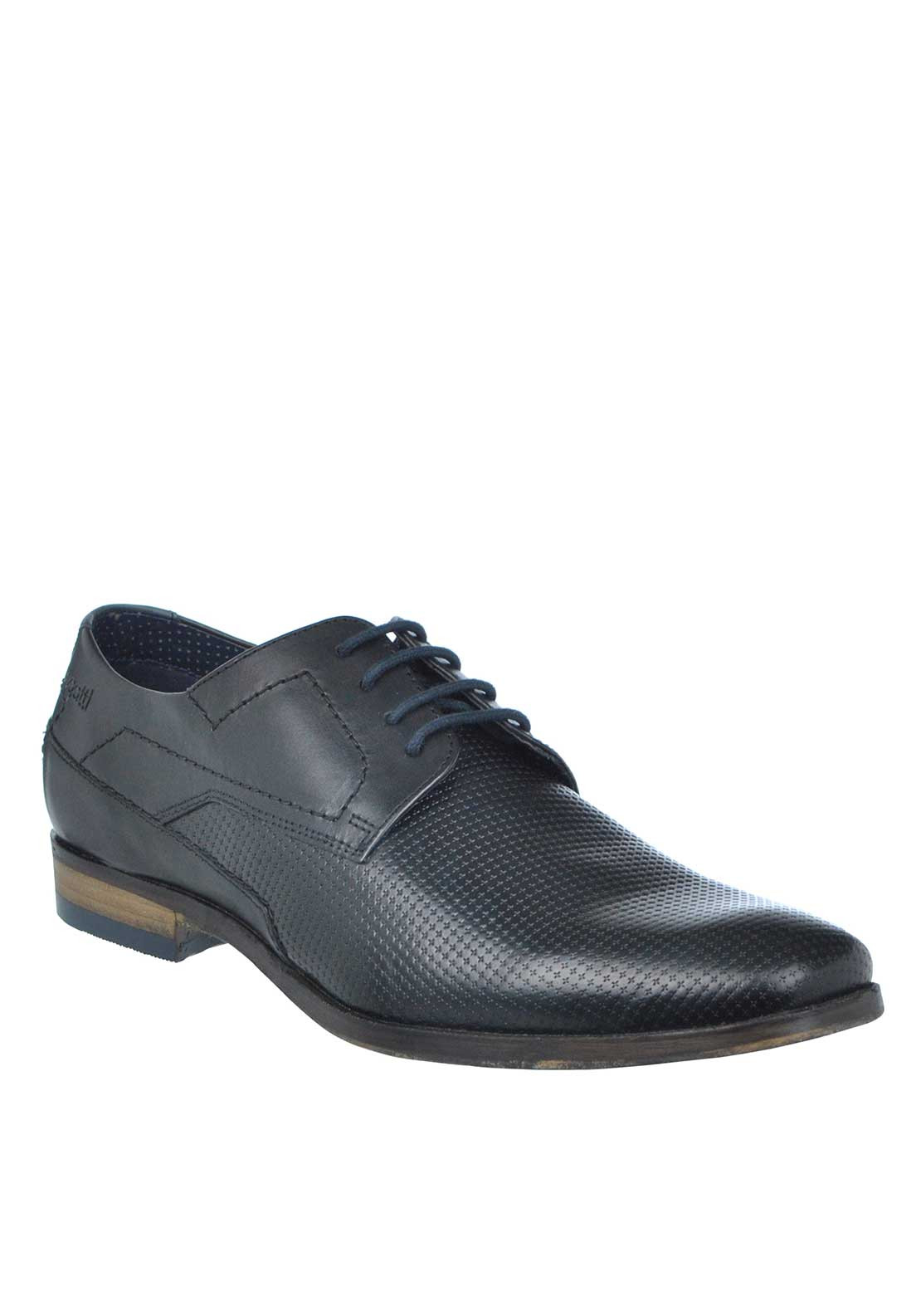 Bugatti Embossed Leather Lace Up Shoe, Black